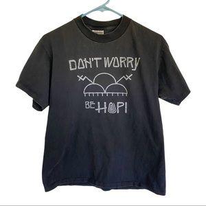 🍋 90s Single Stitch Don't Worry Be Hopi T-Shirt M